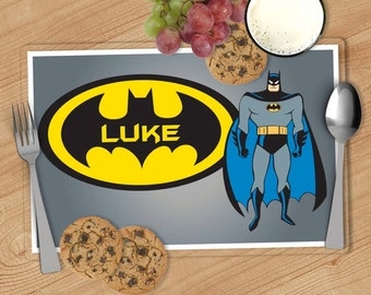 Batman -  Kids Personalized Placemat, Customized Placemats for kids, Kids Placemat, Personalized Kids Gift