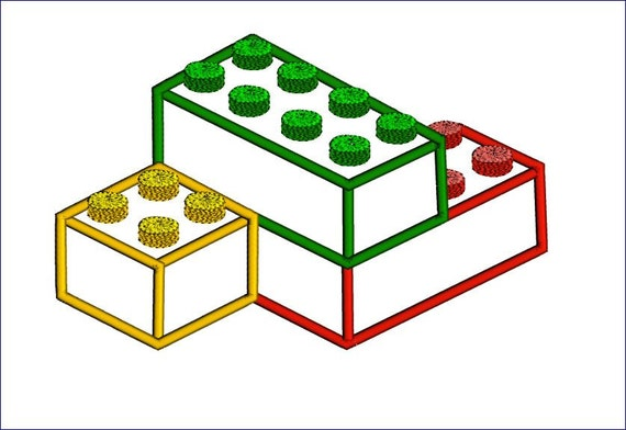 Lego Applique Design. Blocks machine embroidery design. Boys