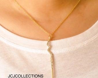 Lightning Bold Pave Pendant Necklace
