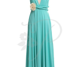 Bridesmaid Dress Turquoise Maxi Floor Length, Infinity Dress, Prom Dress, Multiway Dress, Convertible Dress, Maternity - 26 colors