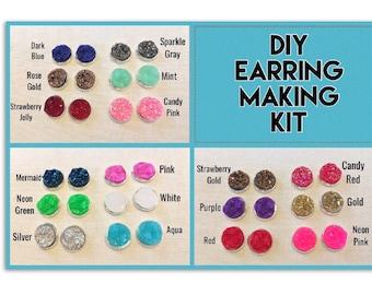 DIY earring Kit, druzy earring kit, jewelry making kit, earring set, diy kit, diy jewelry, druzy studs, 12mm Druzy, cabochon, stud earrings