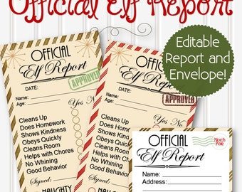 EDITABLE Official Elf Reports - INSTANT DOWNLOAD