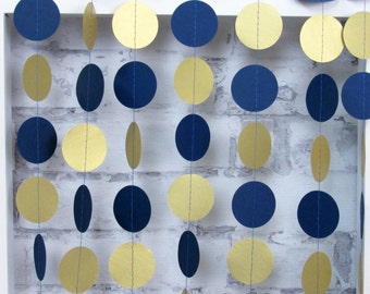 Navy Blue and Gold Garland - Navy Blue Paper Garland - Navy Party Decor - Shimmery Gold Garland