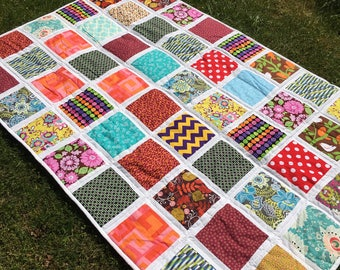 READY TO SHIP Patchwork quilt, hand made, Classic quilt , twin size ,cotton blanket , 51 x 77 inch