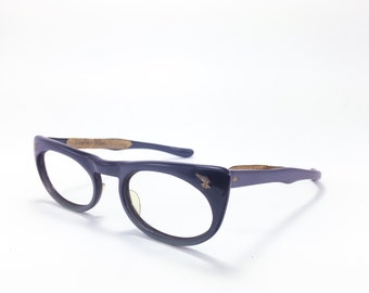 Vintage 1950s Cateye Eyeglasses | 50s Slate Blue Cateye Glasses with Patina | NOS Eyeglass Frame | Deadstock Eyewear - Zest