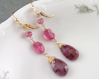 Shaded pink sapphire earrings, handmade gold filled earrings-OOAK