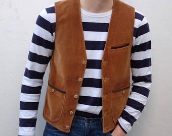 Vintage Mens Brown Corduroy Button Up Vest