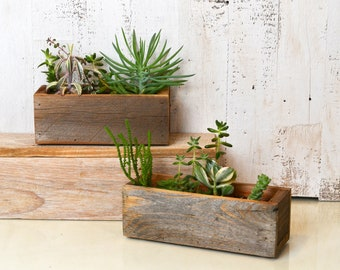 """Handmade Reclaimed Wood Succulent Planter Box Holds 2"""" x 7.5"""" - Small Planter Wedding Decoration - Can Be Personalized with Initials"""