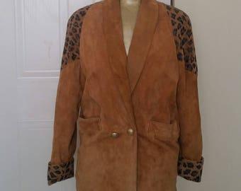 Vintage Suede Coat w Leopard Print Shoulders/Cuffs