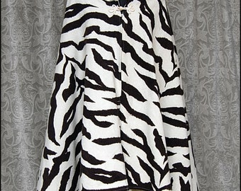 Bela ~ High-Collared Cape by Kambriel - Vintage Brushed Cotton - Ivory and Dark Brown Art Deco Zebra Design - Brand New & Ready to Ship!
