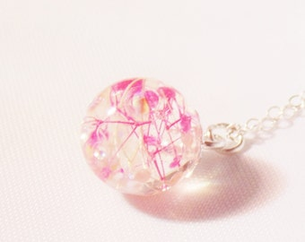 Cherry Blossom Necklace, Dewdrop, Resin Dewdrop, Dainty Necklace, Wishes on the Wind, Gift for Her