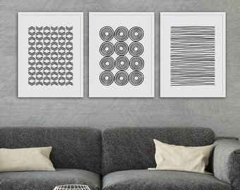 Set of 3, Black and White Midcentury Modern Geometric Lines Abstract Art Print Set, Modern Art, Gallery Wall, Instant Download, Abstract Art
