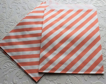 Baby Pink and White Striped Paper Bag- Gift Bag, Notion Bag, Party Favor, Party Supply, Shop Supply, Treat Bag, Merchandise Bags