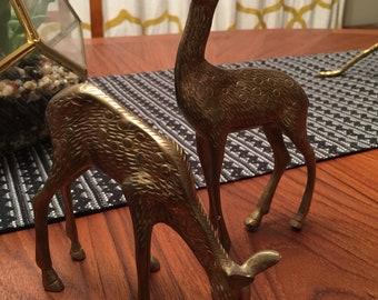 Brass deer figurines - buck and doe - rustic mid cenrury modern