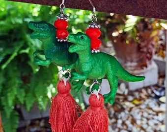 T-Rex Dinosaur Tassel Earrings
