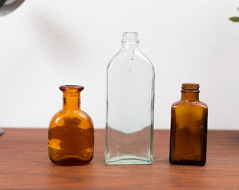 Vintage Apothecary Bottles - Set of 3  Clear and Brown Glass Antique Pharmacy Bottles - Pharmaceutical Doctor's Medical Bottle