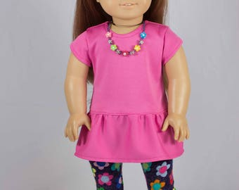 DRESS Tunic Pink with Flower LEGGINGS Necklace and Two BOOTS Options for American Girl or 18 inch Doll