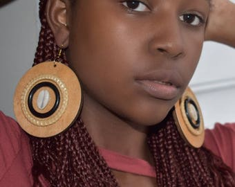 Earthy Wood Earrings w/Cowrie Shell
