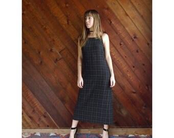 Windowpane Plaid Sleeveless Maxi Dress - Vintage 90s - XS/S