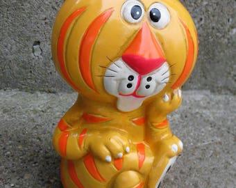 mod tiger piggy bank paper mache mid century made in japan gift idea