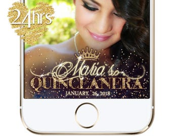 Gold Snapchat Quinceanera Filter, Birthday Snapchat Filter, Quinceanera Snapchat Geofilter, Quinceanera Geofilter, Snapchat  Birthday