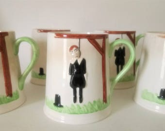 5 Mugs Vintage Carlton Ware Hangman Mugs Set Of 5 Mugs 1972