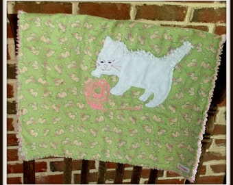 """Baby Girl Mini Quilt, """"White Kitten"""""""