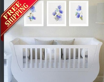 Blue Watercolor Floral Prints Abstract Flower Illustration Set 3 Flower Watercolor Painting Nursery Decor Minimalist Art Gift Newborn Baby