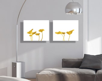 Floral Printable Art Set of 2 Prints Lotus Leaf Gold White Herbal Decorations Vegetable Wall Decor Botanical Digital Art / Instant Download
