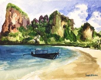Ao Nang beach, Krabi, Thailand, Thailand art, Thailand beach, sunny, Watercolor painting, Beach Painting, Watercolors Paintings Original