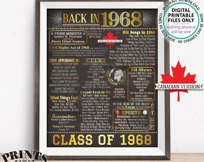 "Class of 1968 Reunion CANADA Graduation Sign 1968 Graduating Class, Flashback Reunion, Canadian Chalkboard Style PRINTABLE 8x10/16x20"" <ID>"