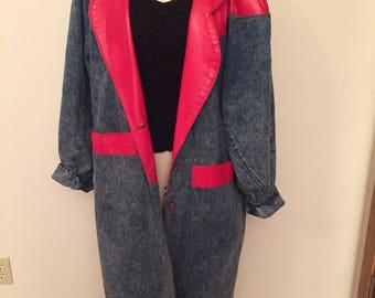 80s denim and leather maxi coat