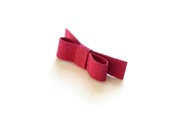 Suede Hair Clip, Suede Bow Barrette, Hot Pink Bow, Fuchsia Clip, Tiny Bow, Bright Pink Barrette, Simple Hair Clip, Pink Suede, Mini Bow