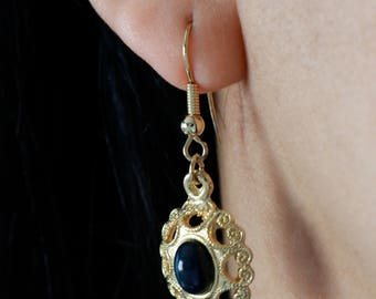Gold Tone Drop Earrings - Dark Blue Drop Earrings