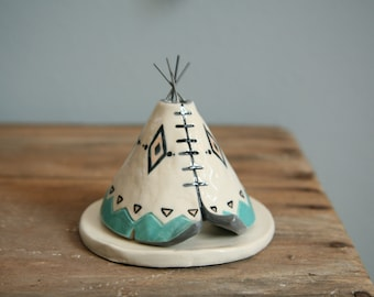 TeePee Incense Burner Holder, Handmade Ceramic, Aqua, Boho Aztec Pattern, Bridesmaid Gift, Unique Bohemian Gift, Meditation Altar