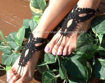 STUNNING Black Crochet Barefoot Sandals Foot Jewelry Beach Wedding Shoes Anklet Jewelry for the BEACH Item