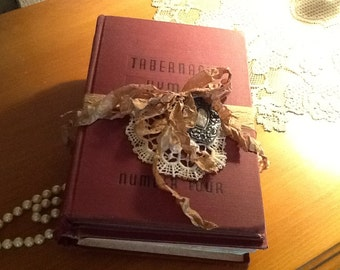 Altered, Vintage Hymnals, Shabby Chic, Cottage Chic, vintage Lace, embellished