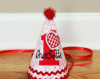 Girls First Birthday Valentines Hat - Red and white with Valentine heart - Free personalization