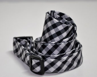 Men's Bow Tie Black and White Gingham Freestyle Bowtie