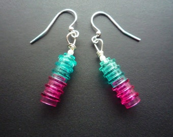 Turquoise, pink or blue dangle earrings made from Lego® bricks: 6 translucent round pieces. Finished with small pearlesque bead and silver.