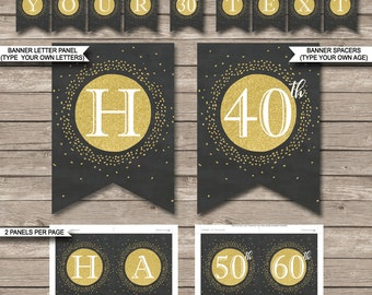 Happy Birthday Banner - Printable 30th 40th 50th 60th etc - INSTANT DOWNLOAD with EDITABLE text - print a custom age & banner message