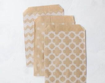 Geometric Honeycomb / Polka Dot / Chevron / White on Brown Kraft Small Flat Bags - 25 pc
