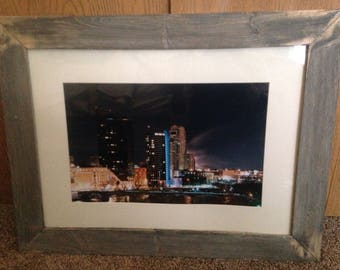 Grand Rapids Skyline At Night Rustic Frame