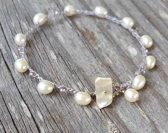 Beach Bride Bracelet, Boho Crocheted Bridal Jewelry, Bridesmaid Gift, Minimal Classic Wedding Jewelry, Dainty Stacking Pearls Crystals, Prom
