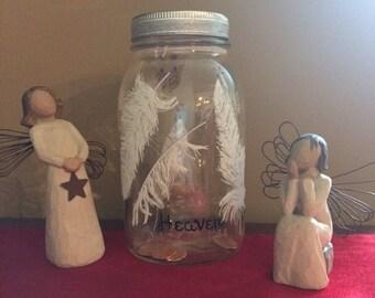 Pennies from heaven mason jar,customize mason jar gifts,angel mason jar,gift for grieving friend,angel wing mason jar,angels and penny jars