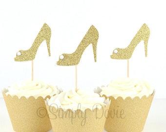 Gold Glitter High Heel Cupcake Toppers, Bridal Shower Gold Glitter Cupcake Topper, Party Decorations, Wedding