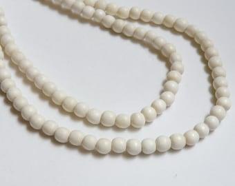 White wood beads round 6mm full strand eco-friendly Cheesewood 9408NB