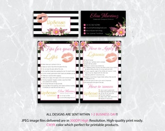 LipSense Tips and Tricks, Lipsense How To Apply, Lipsense Business Card, Senegence Application, Tips Cards, Free Personalized LSS01