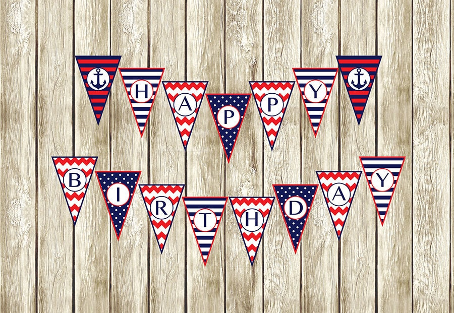 Nautical Birthday Banner Nautical Happy Birthday Banner