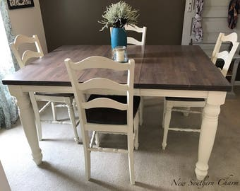 Beautiful Adjustable Counter Height Farmhouse Kitchen Dining Table Set
